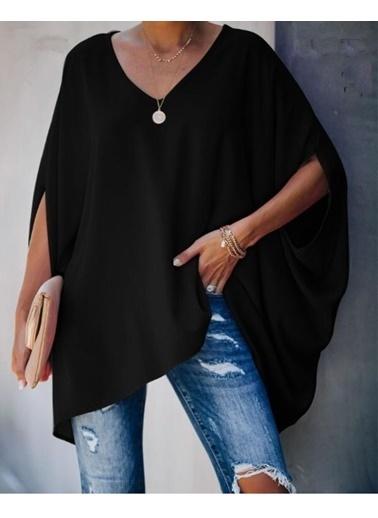 BLACK&GRACE Kadın Pembe Uzun Panço Gömlek  Siyah